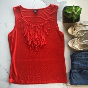 Nautica Red Orange Ruffle Tank Top